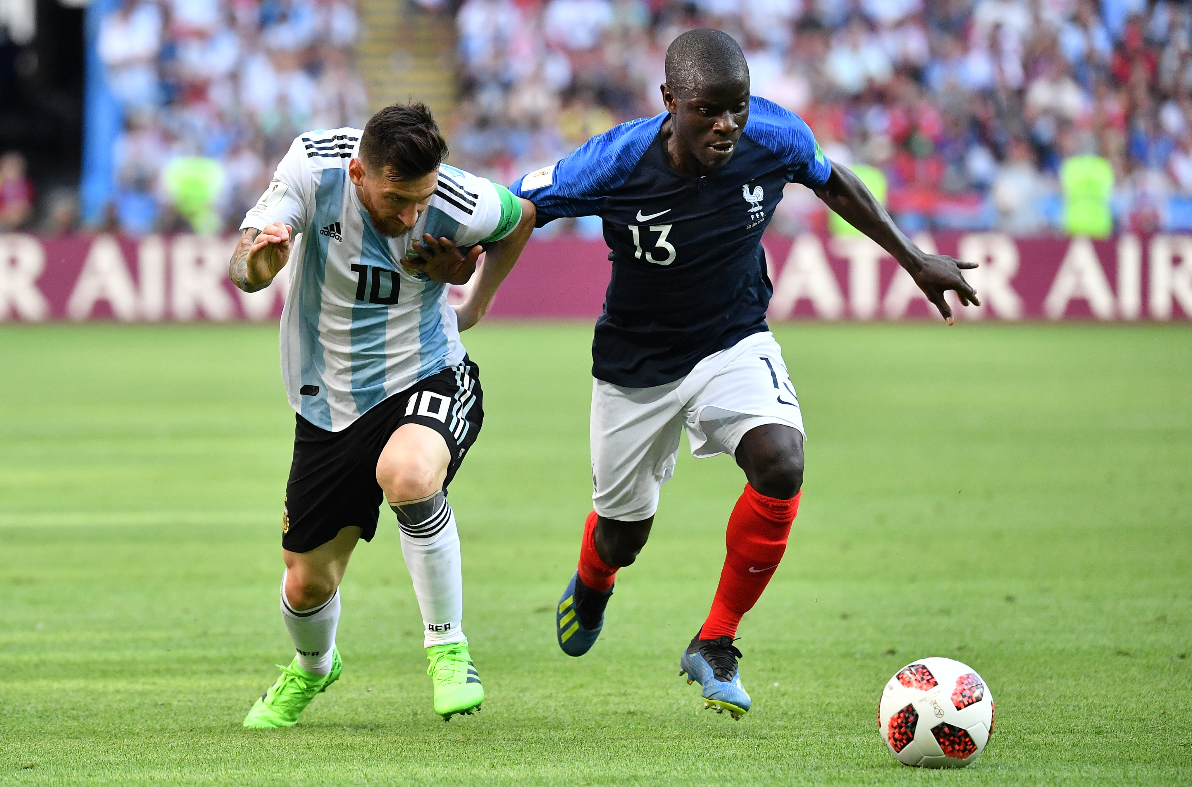 Messi and N'Golo Kante jostle for possesion at the World Cup last year (Photo Credit: PA)