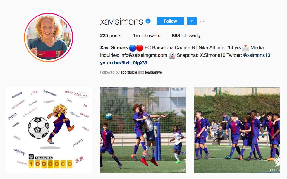Image: Xavi Simons/Instagram