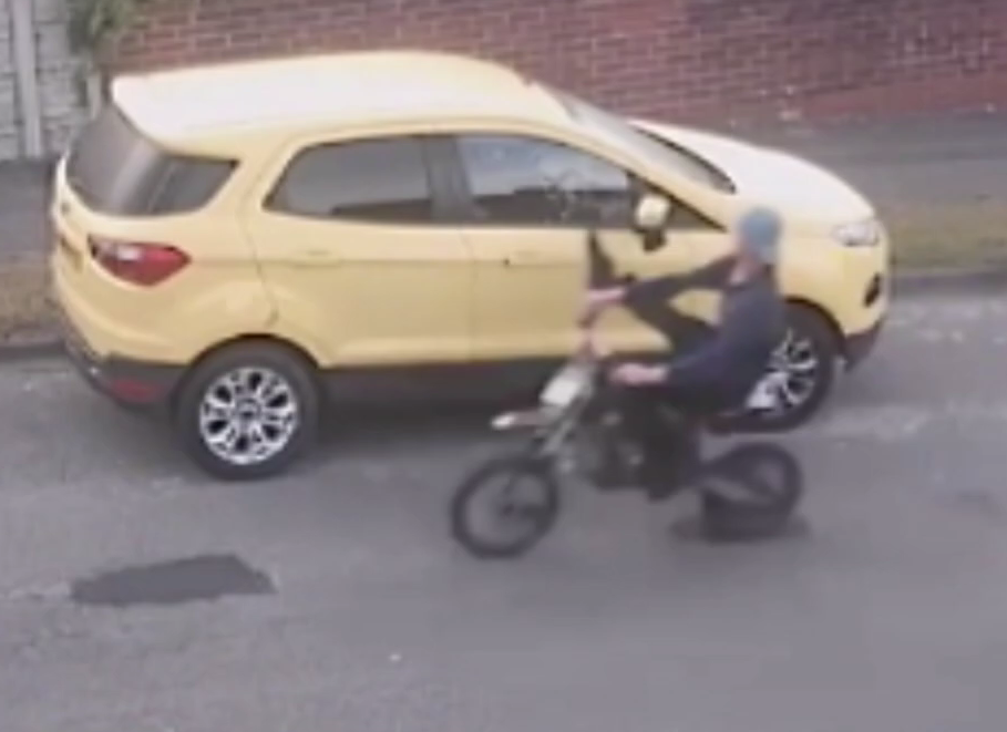 Ashley Wood was caught on CCTV kicking wing mirrors off cars prior to the collision. Credit: Derbyshire Constabulary