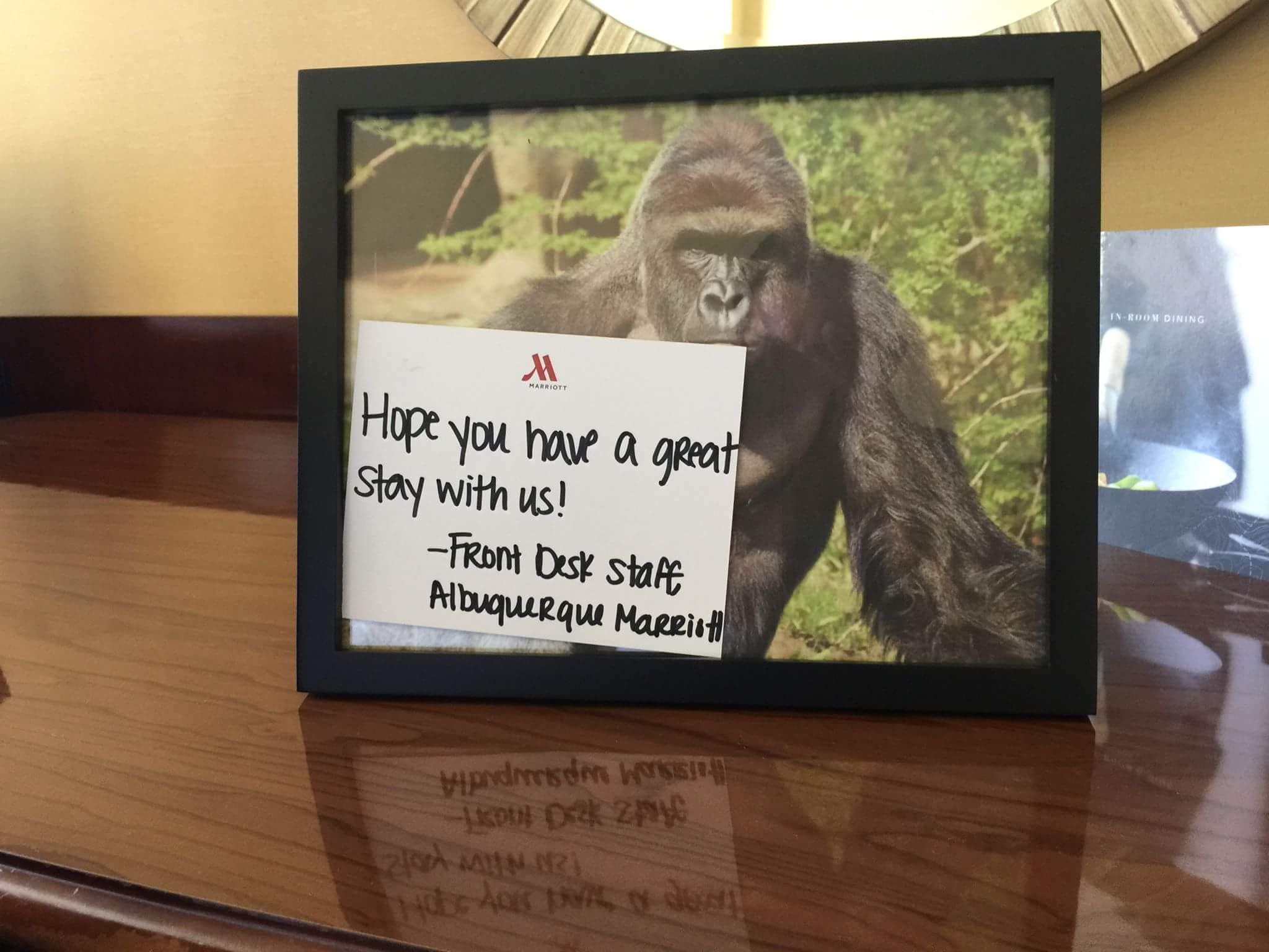 My friend requested a framed picture of Harambe when he made his room reservation. They delivered.
