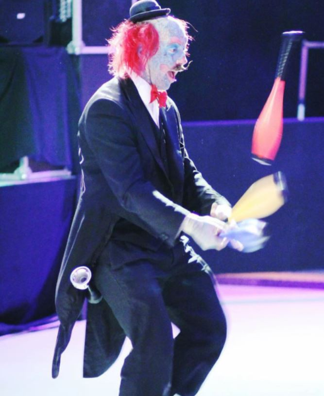 Richie performing one of his clown acts. Credit: Media Drum World