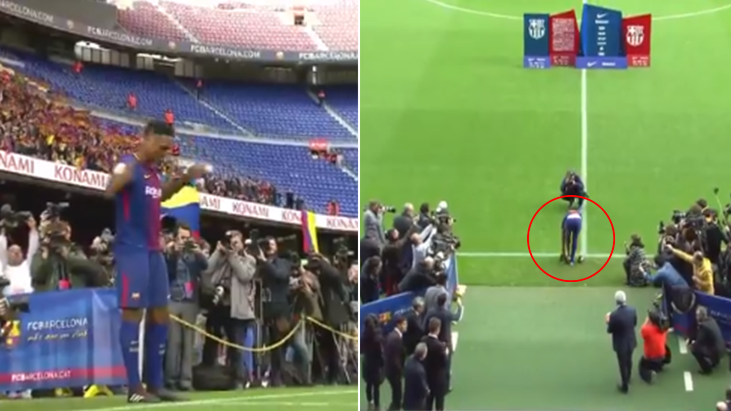 Watch: What Yerry Mina Did During Camp Nou Presentation Is Pure Class