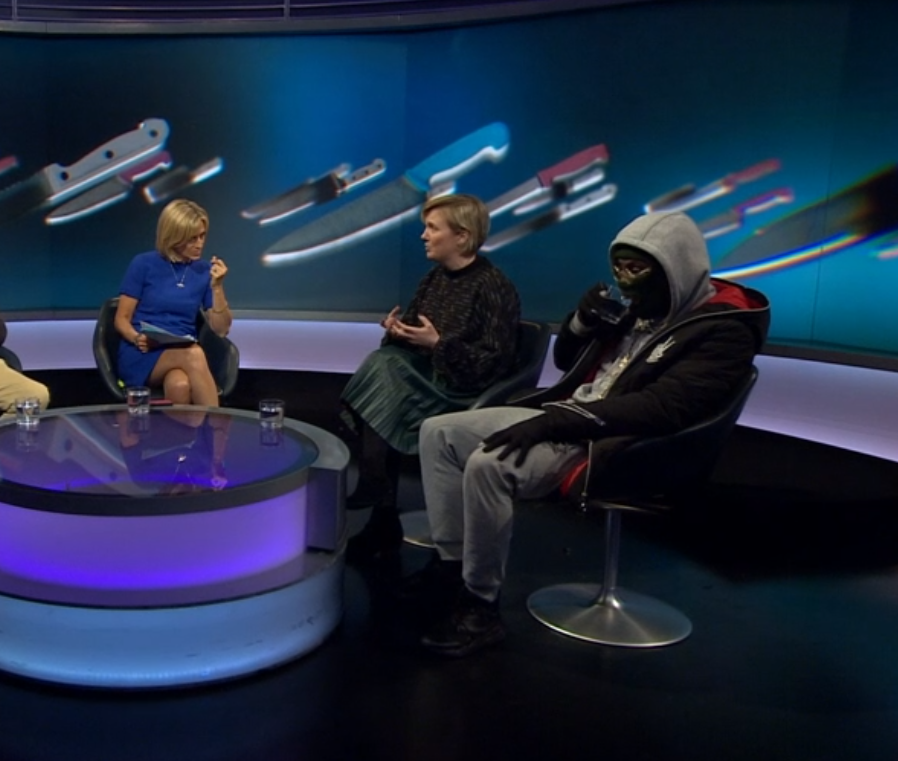 Drillminister seemed to forget he was wearing a mask. Credit: BBC/Newsnight