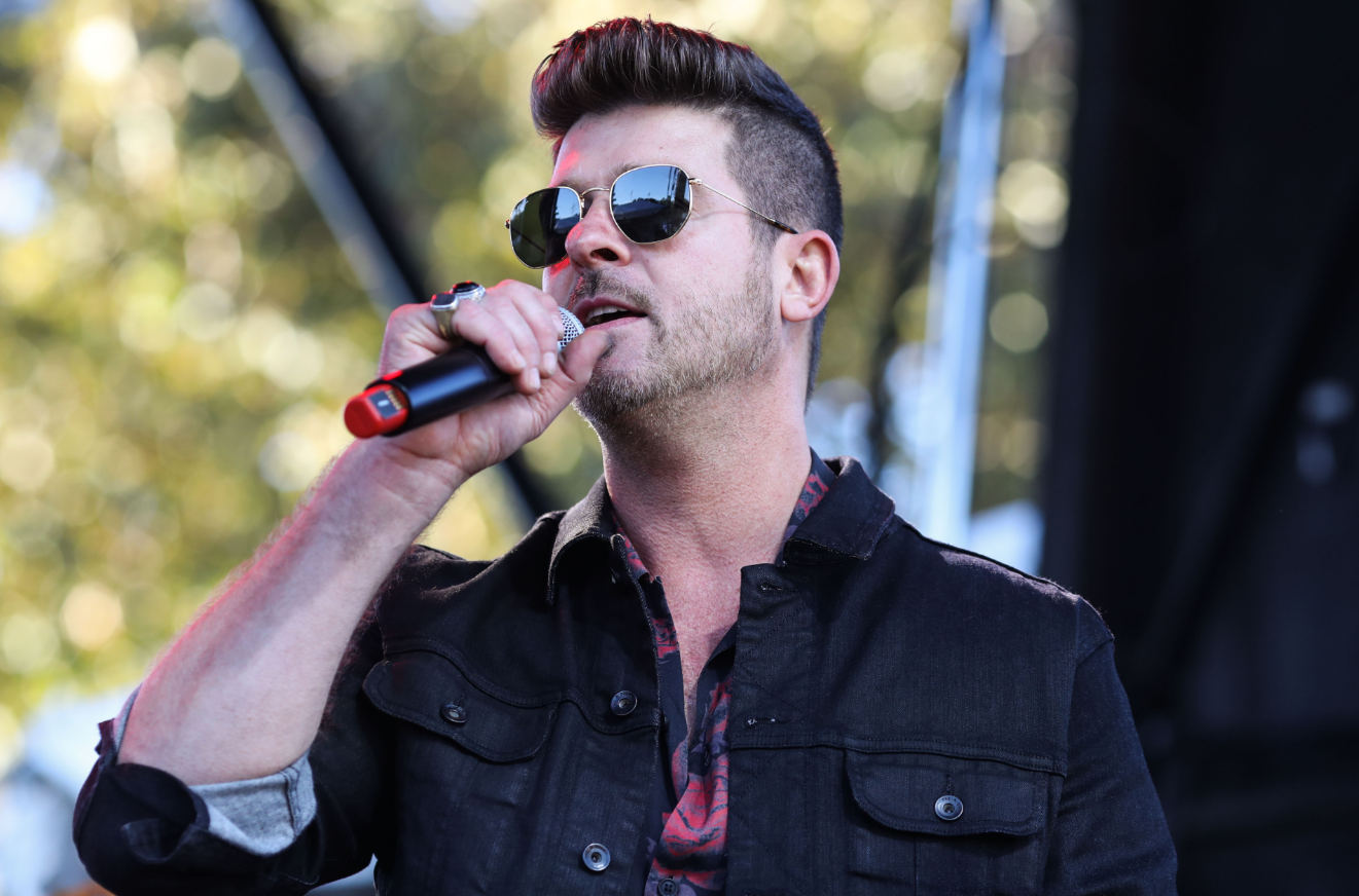 Robin Thicke performing earlier this month. Credit: PA