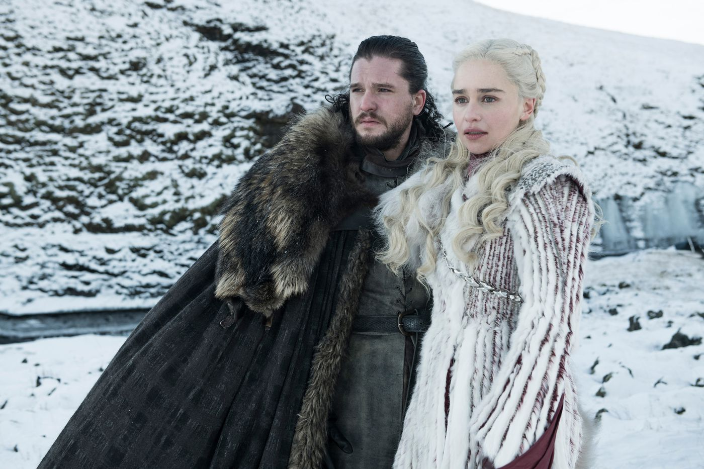 Jon Snow and Daenerys in Game of Thrones. Credit: HBO