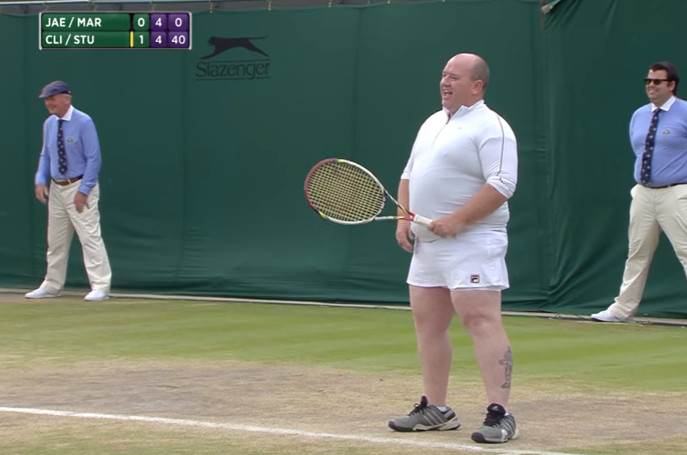 Hilarious moment large bloke in SKIRT invited to play in Wimbledon match