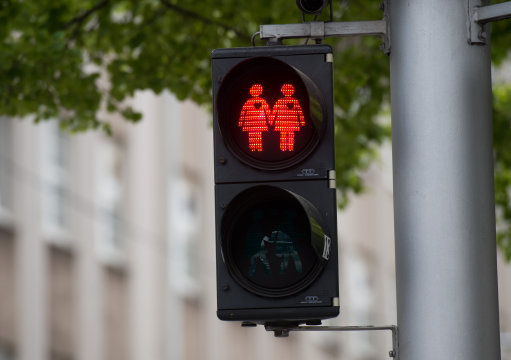 The same-sex couples pedestrian crossing lights are similar to others across Europe, including these in Vienna. Credit: PA