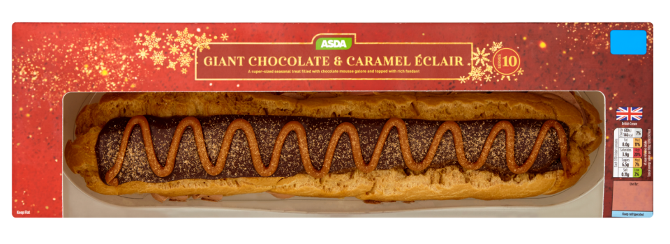 The giant eclair is filled with chocolate mousse and caramel flavour sauce. (Credit: ASDA)