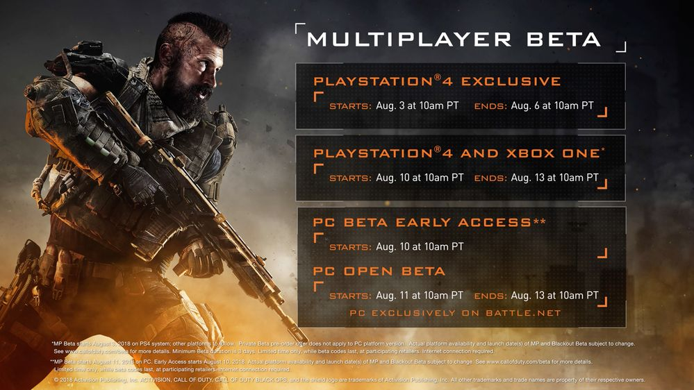 Call Of Duty: Black Ops 4 multiplayer beta start dates revealed