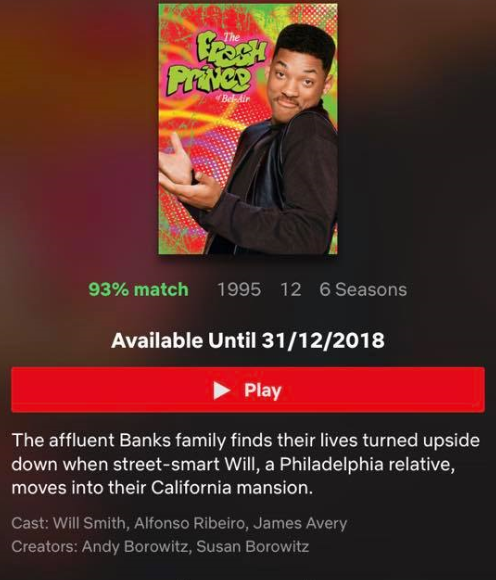 The Fresh Prince of Bel Air will be leaving Netflix after Christmas. Credit: Netflix