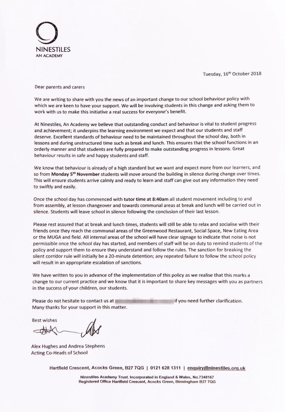 The letter explaining the school's 'no talking policy'. Credit: Mercury Press