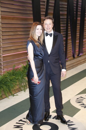 Musk with twice ex-wife Talulah Riley. Credit: PA