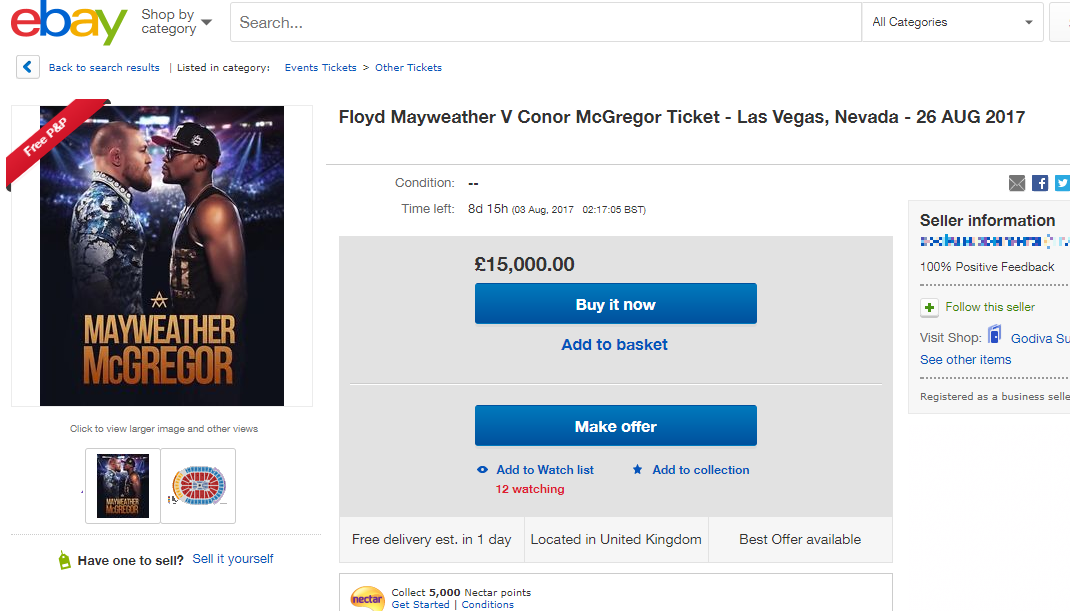 McGregor Mayweather ticket