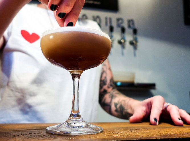 You can help the environment by drinking an espresso martini. (Credit: Twitter/@Tap13Tooting)