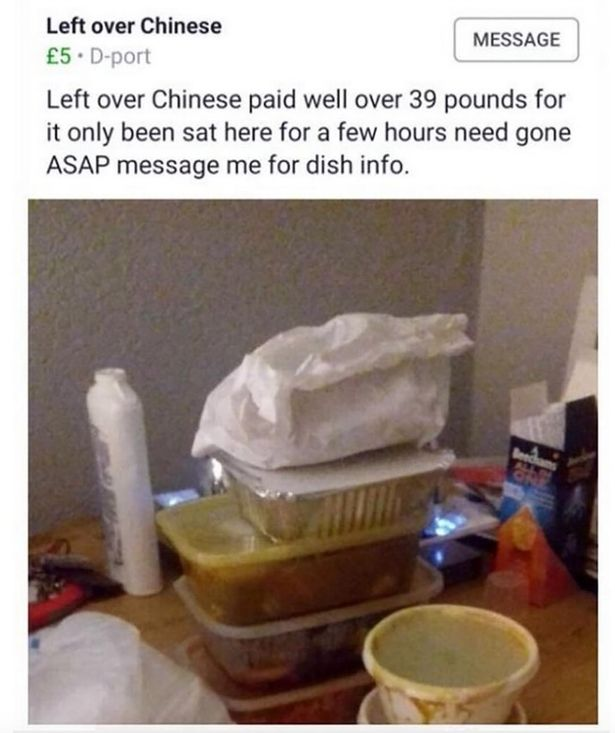 Nothing gets the tummy grumbling like bargain leftover mystery Chinese. Credit: Facebook