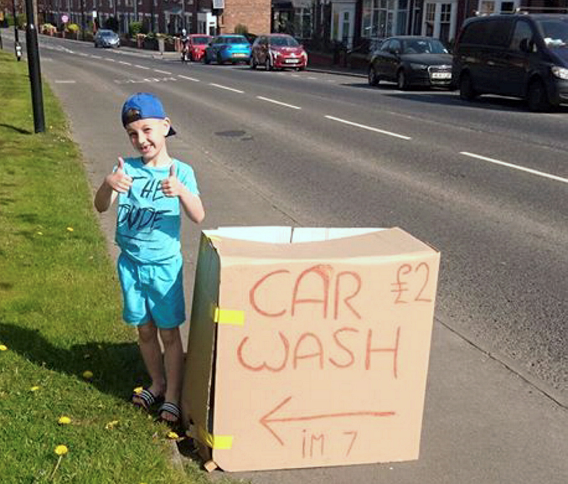 The little boy set up his own car wash to raise money for flowers for his nan's funeral. Credit: North News