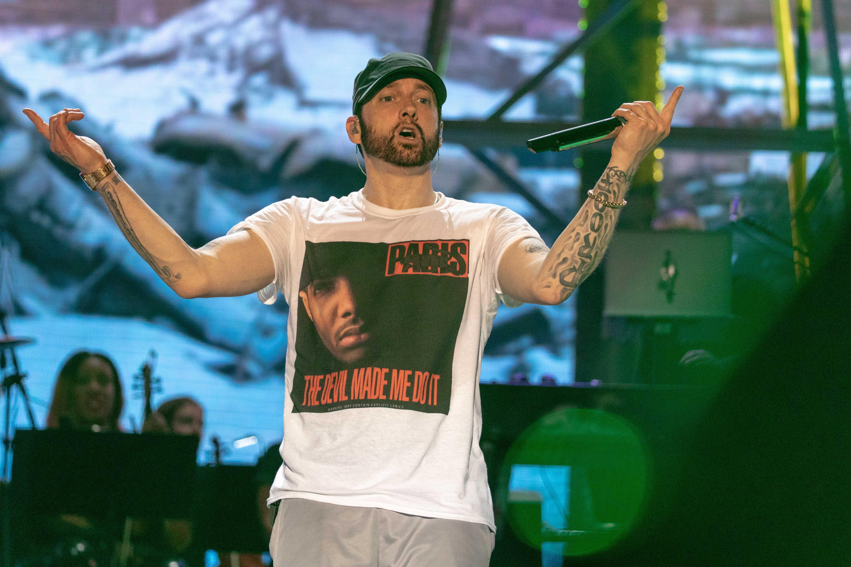 Eminem in concert. Credit: PA