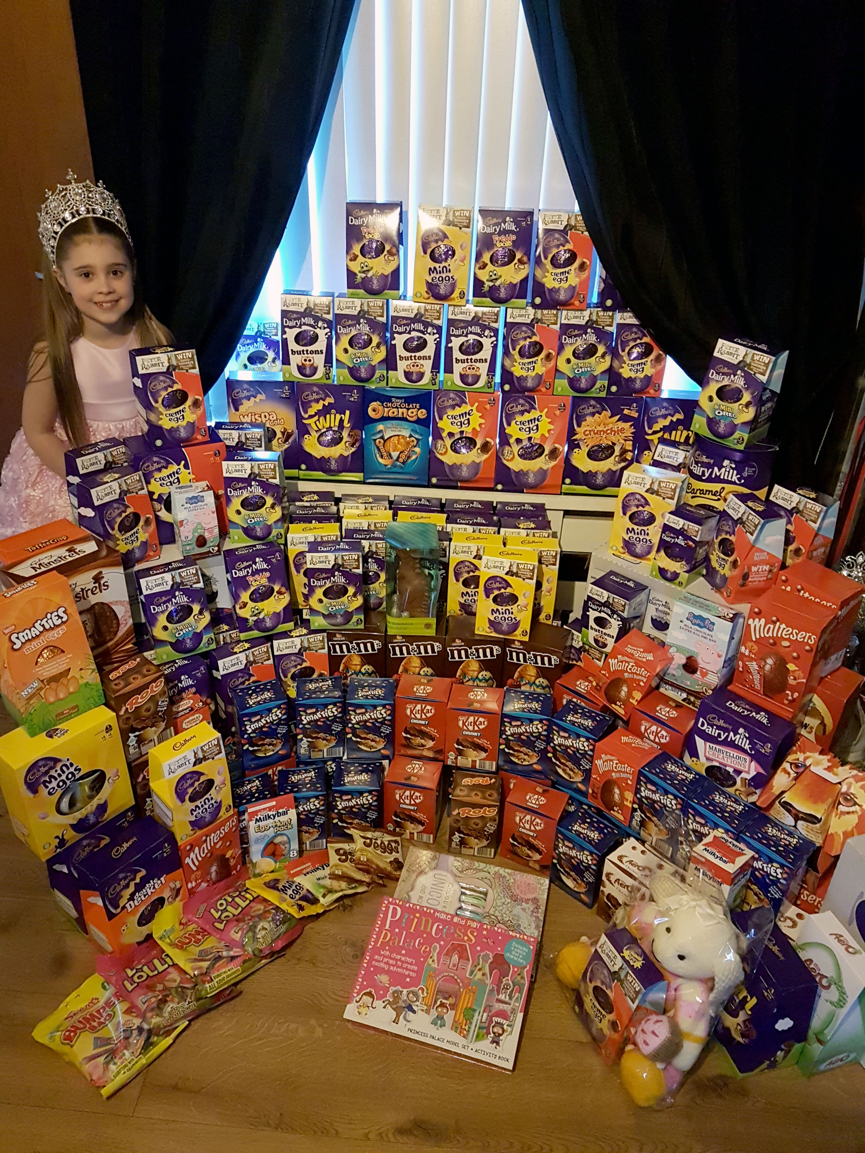 Jasmine Parker, nine, personally hands out the eggs at two hospitals and hospice. Credit: Caters
