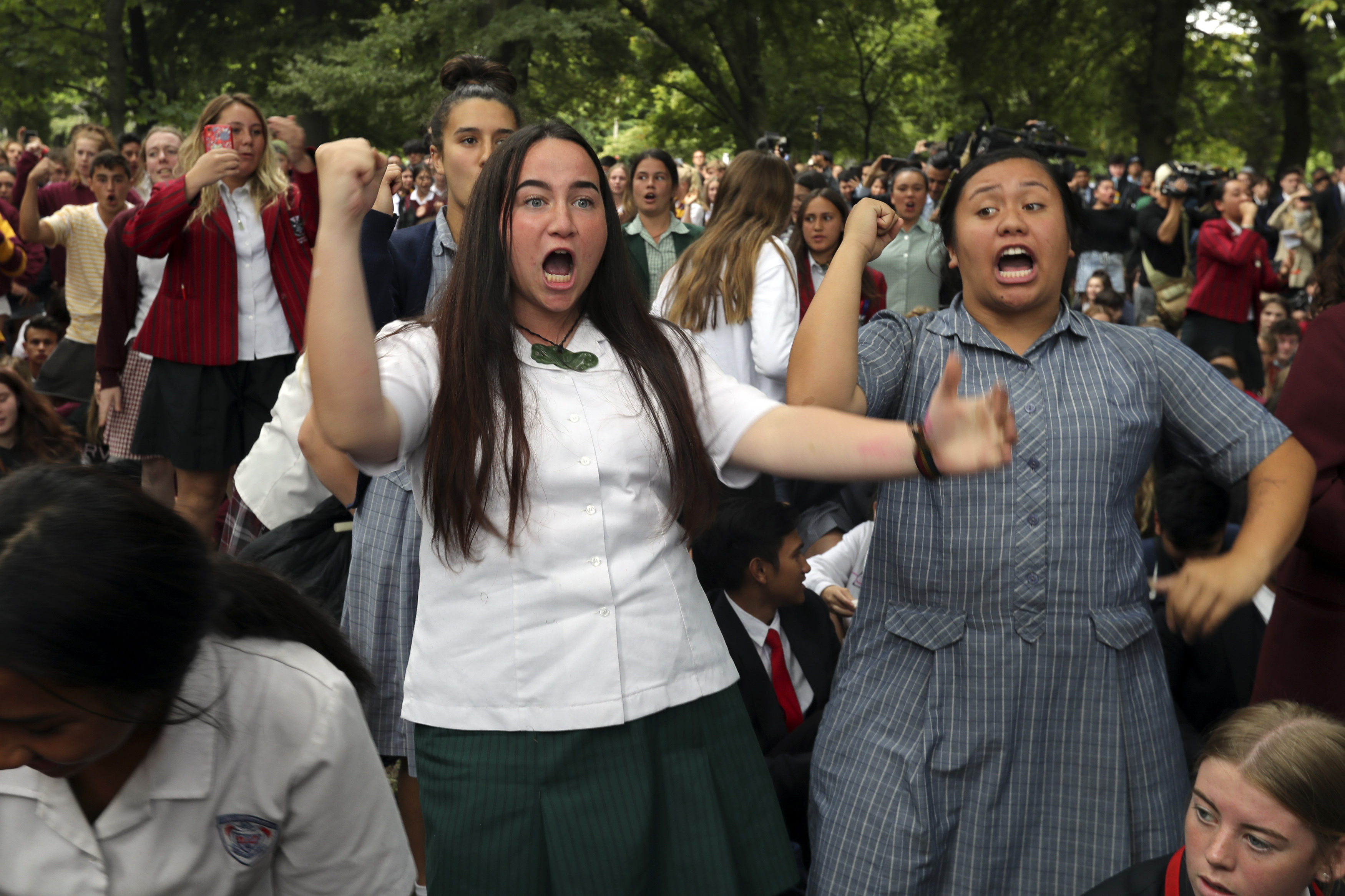 Students perform a traditional Haka dance. Credit PA