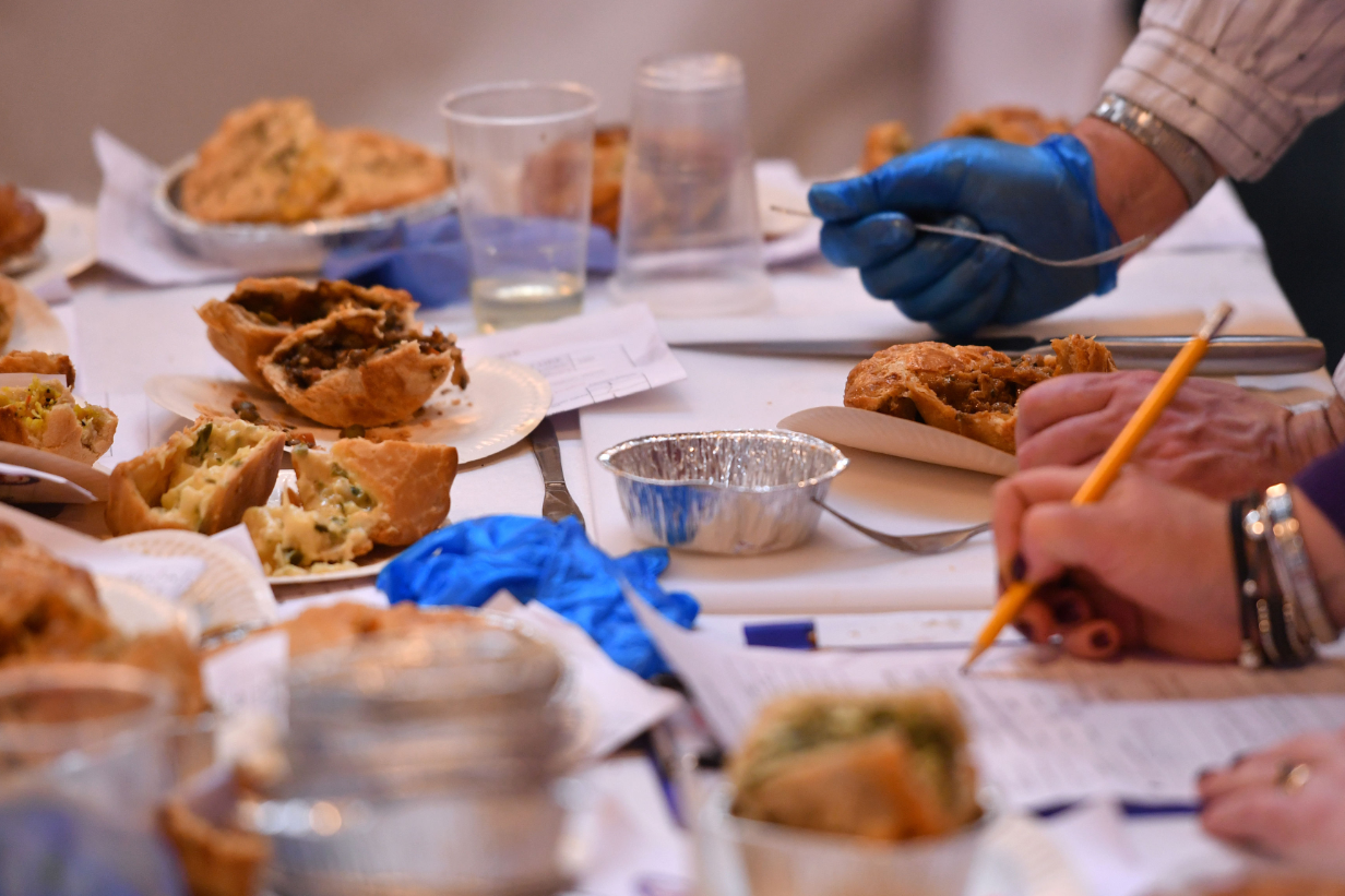 Pies being judged at the British Pie Awards. Credit: PA