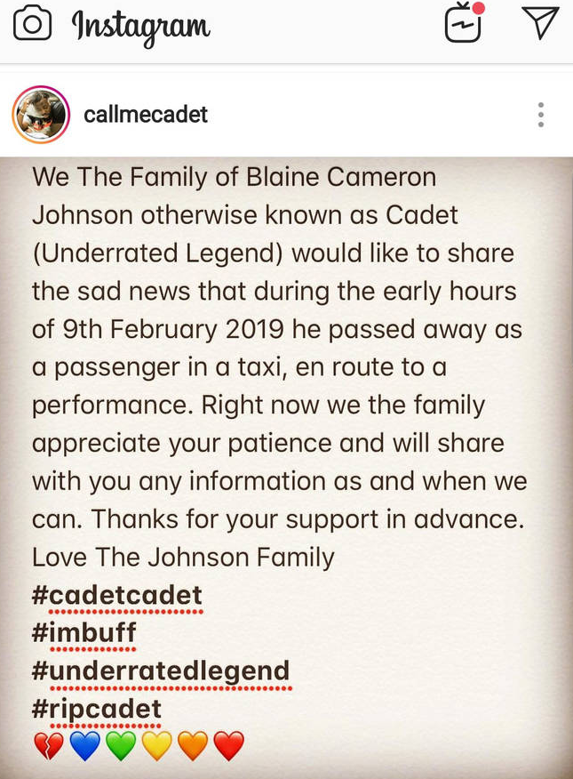 His family shared the sad news in a statement. Credit: Instagram
