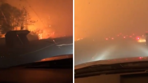 Dad Sings To Daughter To Comfort Her While Escaping Wild Fires