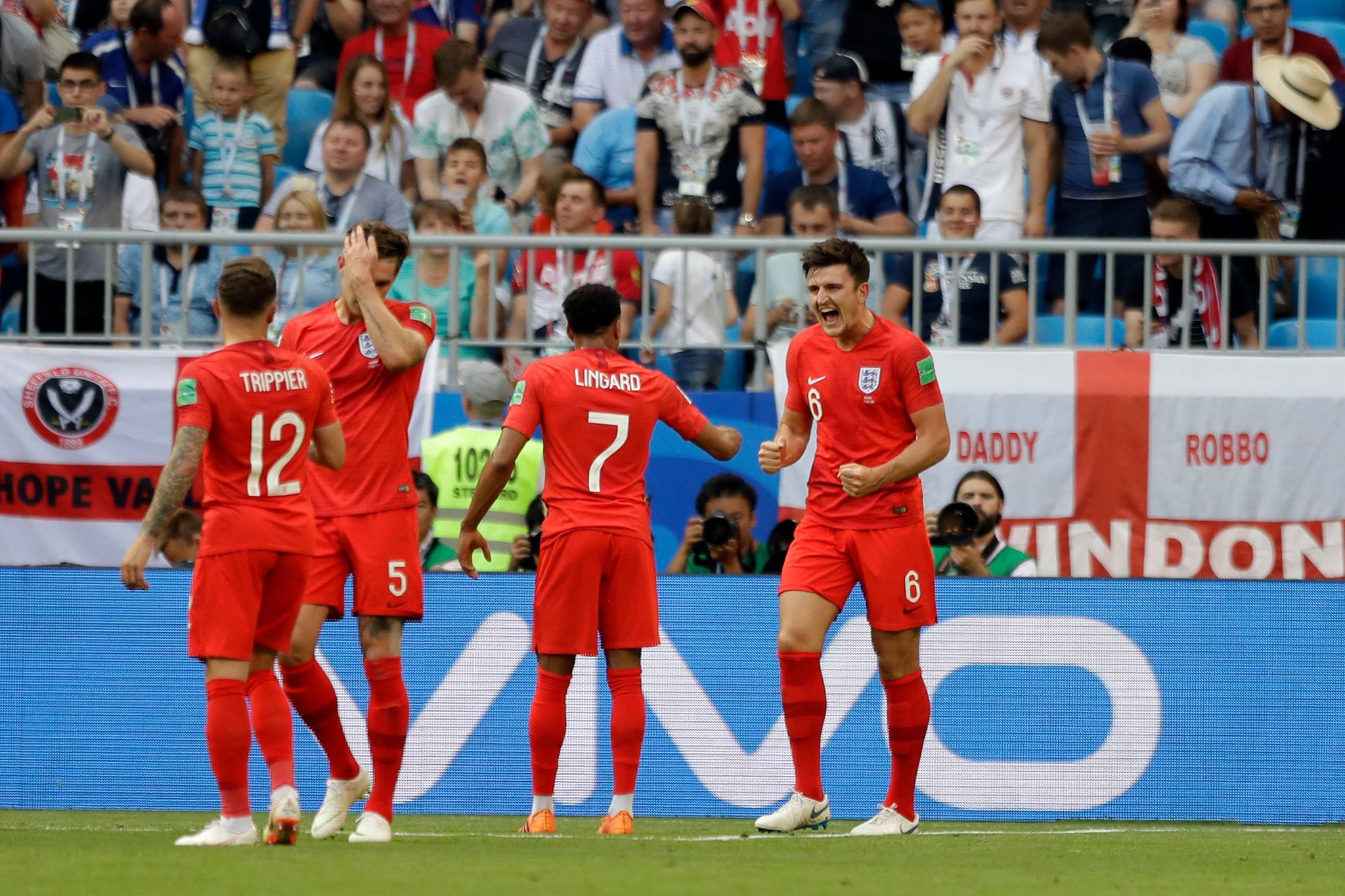 England players celebrate scoring a goal. Image PA