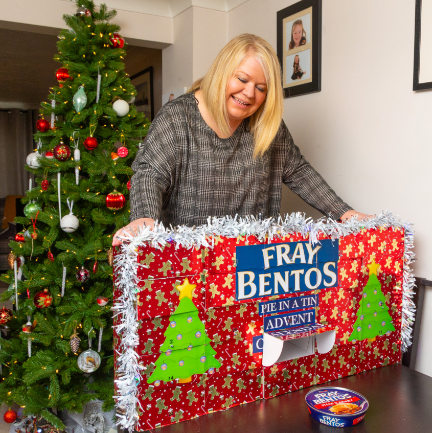 The Fray Bentos advent calendar was a birthday surprise for Nikki. Credit: SWNS