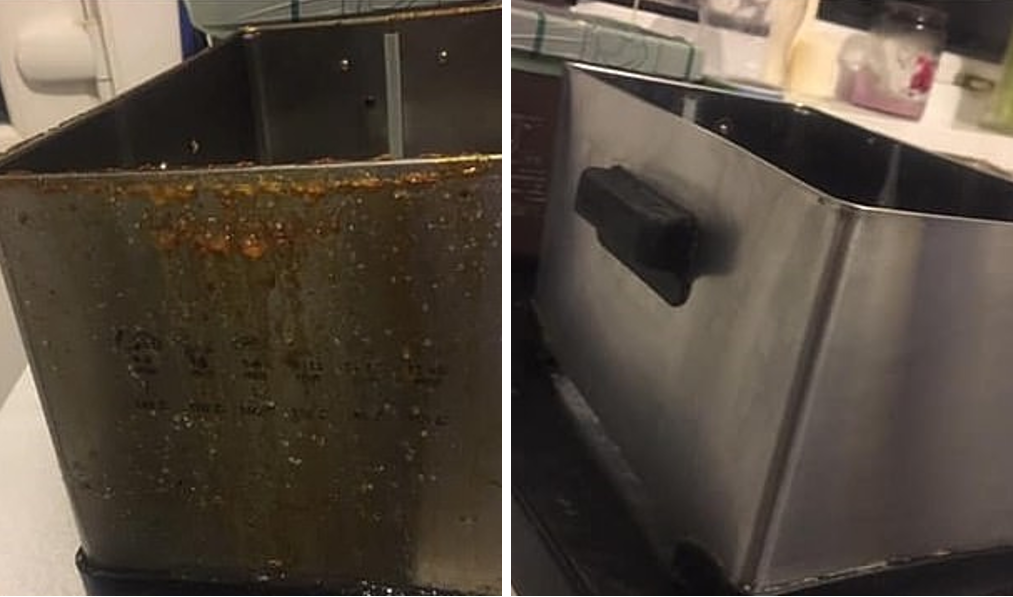 The fryer before and after being scrubbed up with The Pink Stuff. Credit: Extreme Couponing and Bargains UK group