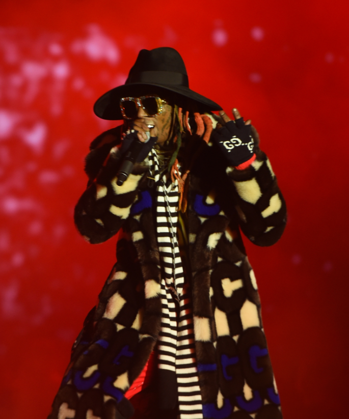 Looks like Lil Wayne decided to don just about every item of clothing he owned. Credit: Shutterstock