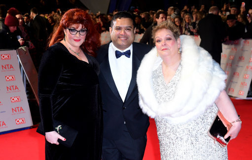 Paul with fellow quizzers, Jenny Ryan and Anne Hegerty attending the National Television Awards. Credit: PA