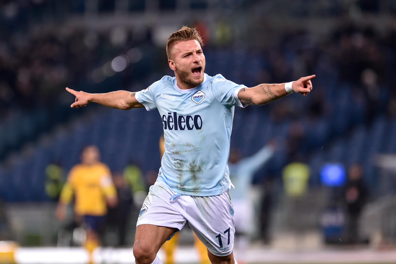 Immobile celebrates scoring a goal for Lazio. Image: PA
