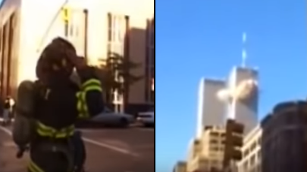 The Only Existing Footage Of 1st Plane Hitting World Trade Center