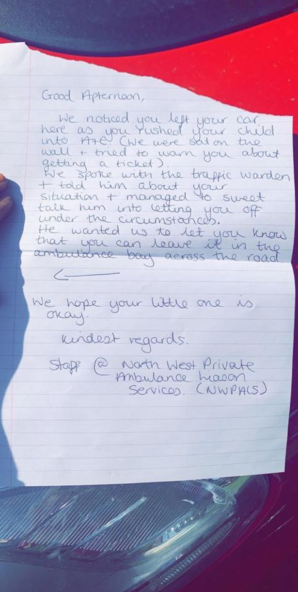 The note that was left on Sarah's car. Credit: Lancs Live WS