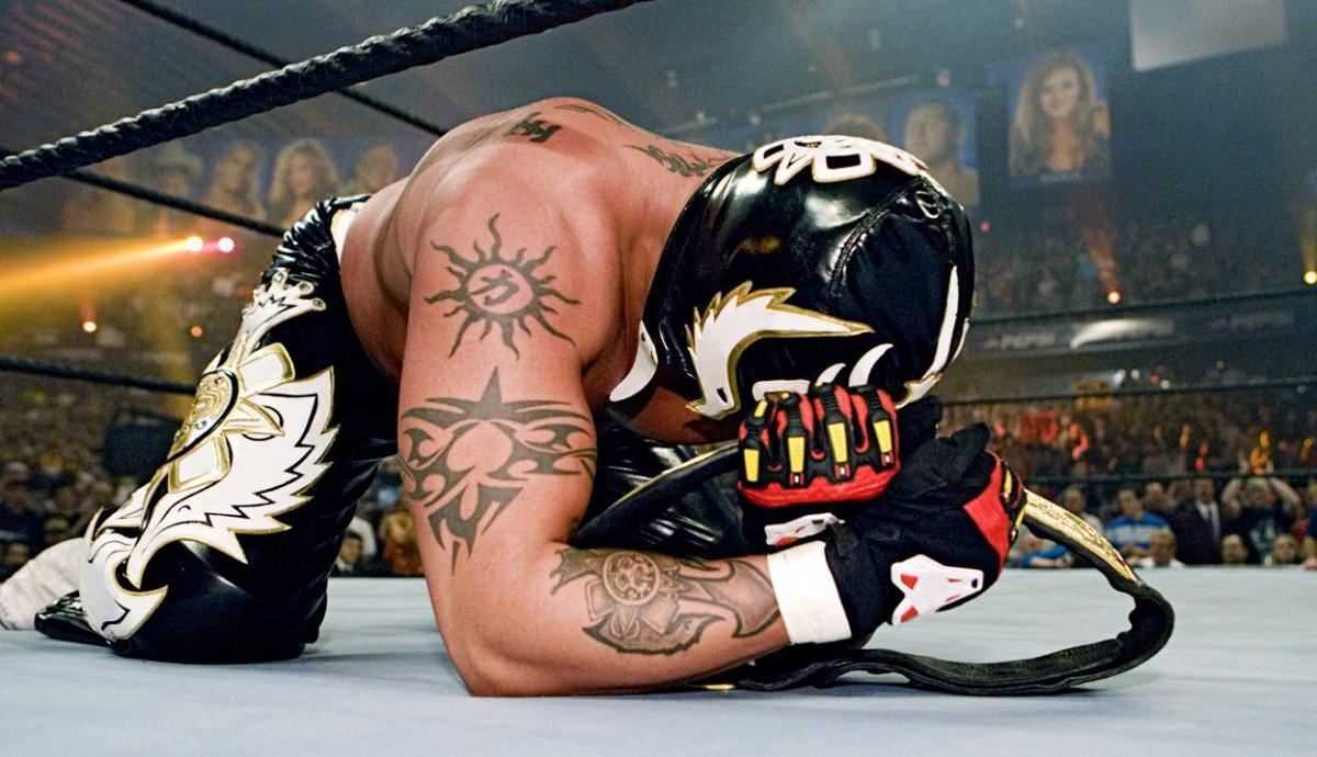 Mysterio after winning the WWE Heavyweight Title. Image: WWE