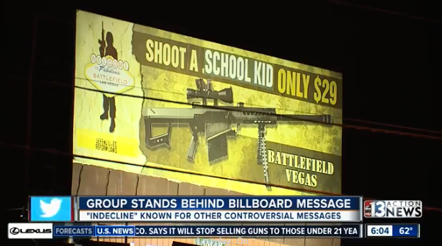 Vegas gun range billboard vandalized to say 'Shoot a School Kid'