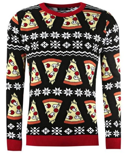 boohoo.com pizza christmas jumper