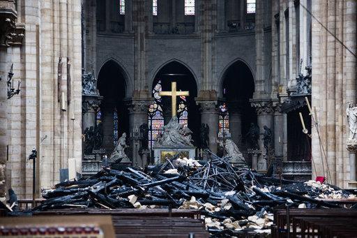 The destruction inside the Notre Dame. Credit: PA