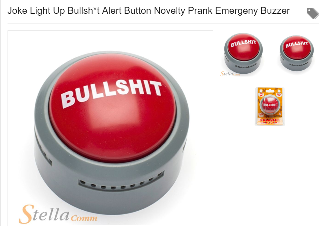 The novelty button is available on Amazon and eBay. Credit: eBay