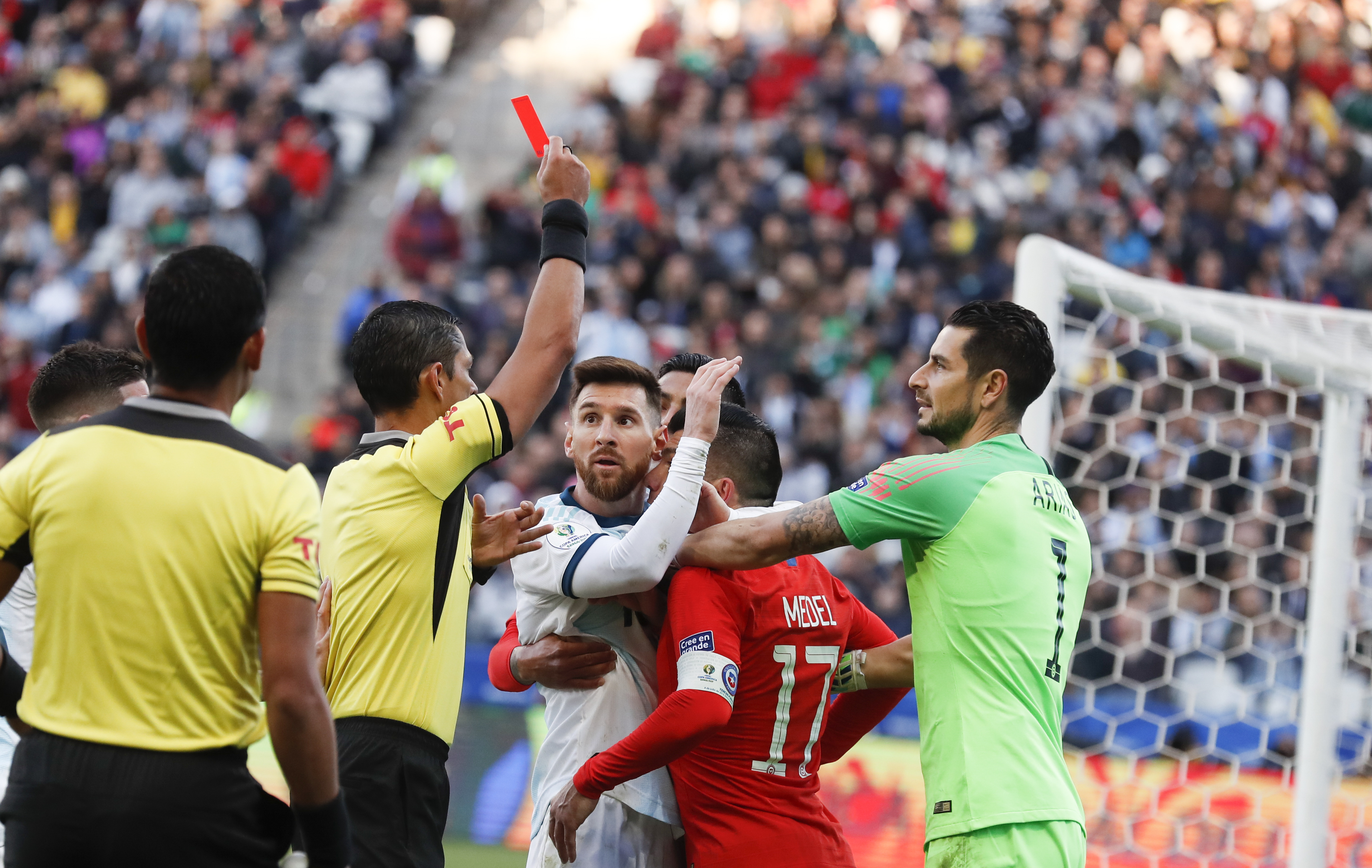 Messi was sent off against Chile. Image: PA Images