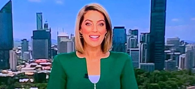 Samantha Heathwood in the, erm, 'penis jacket'. Credit: Channel Nine