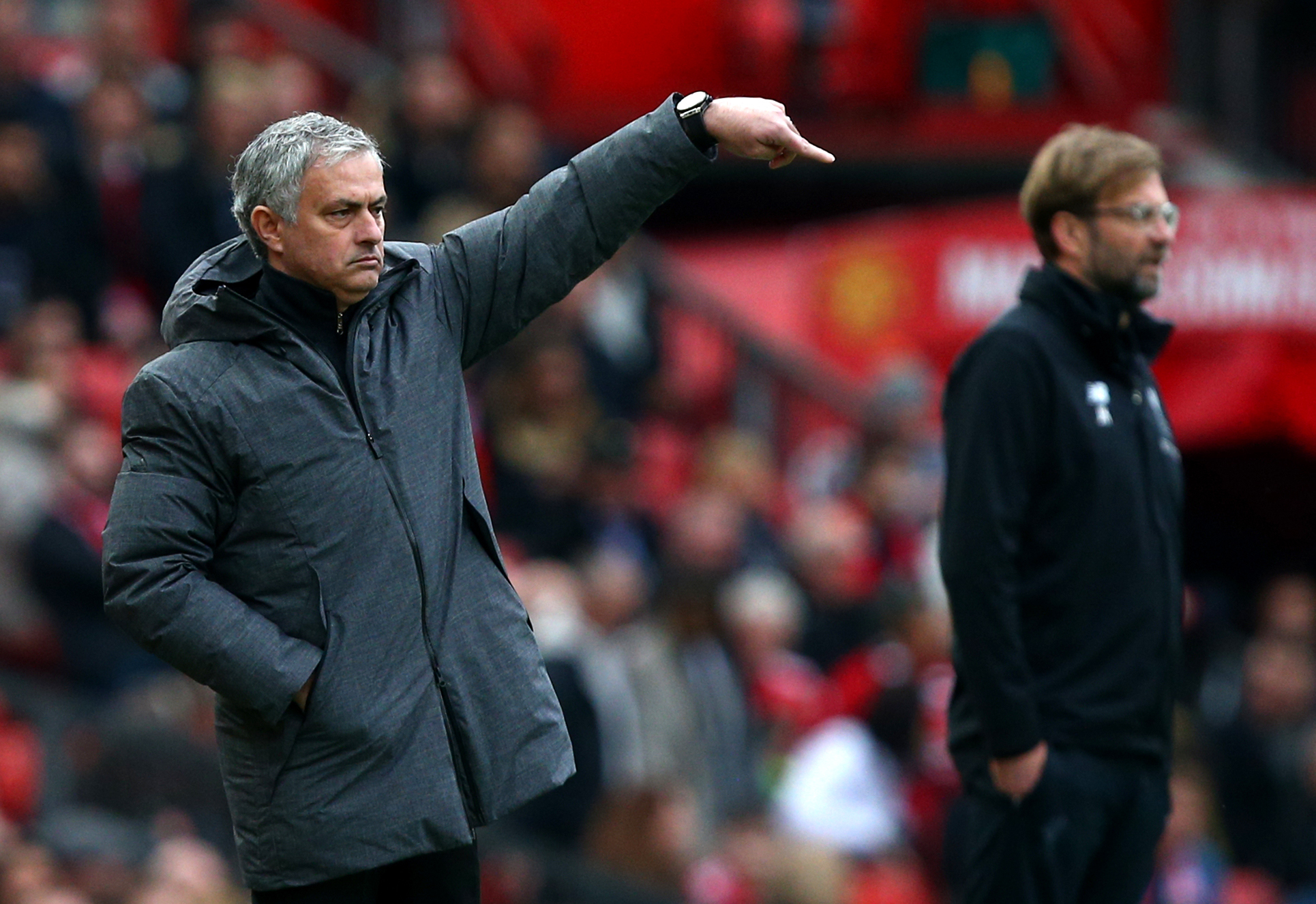 Mourinho gestures on the touchline. Image: PA