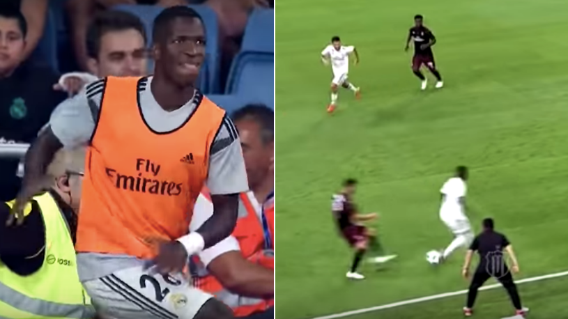 Of Course Vinicius' First Ever Touch At The Bernabeu Was A Backheel Nutmeg Pass