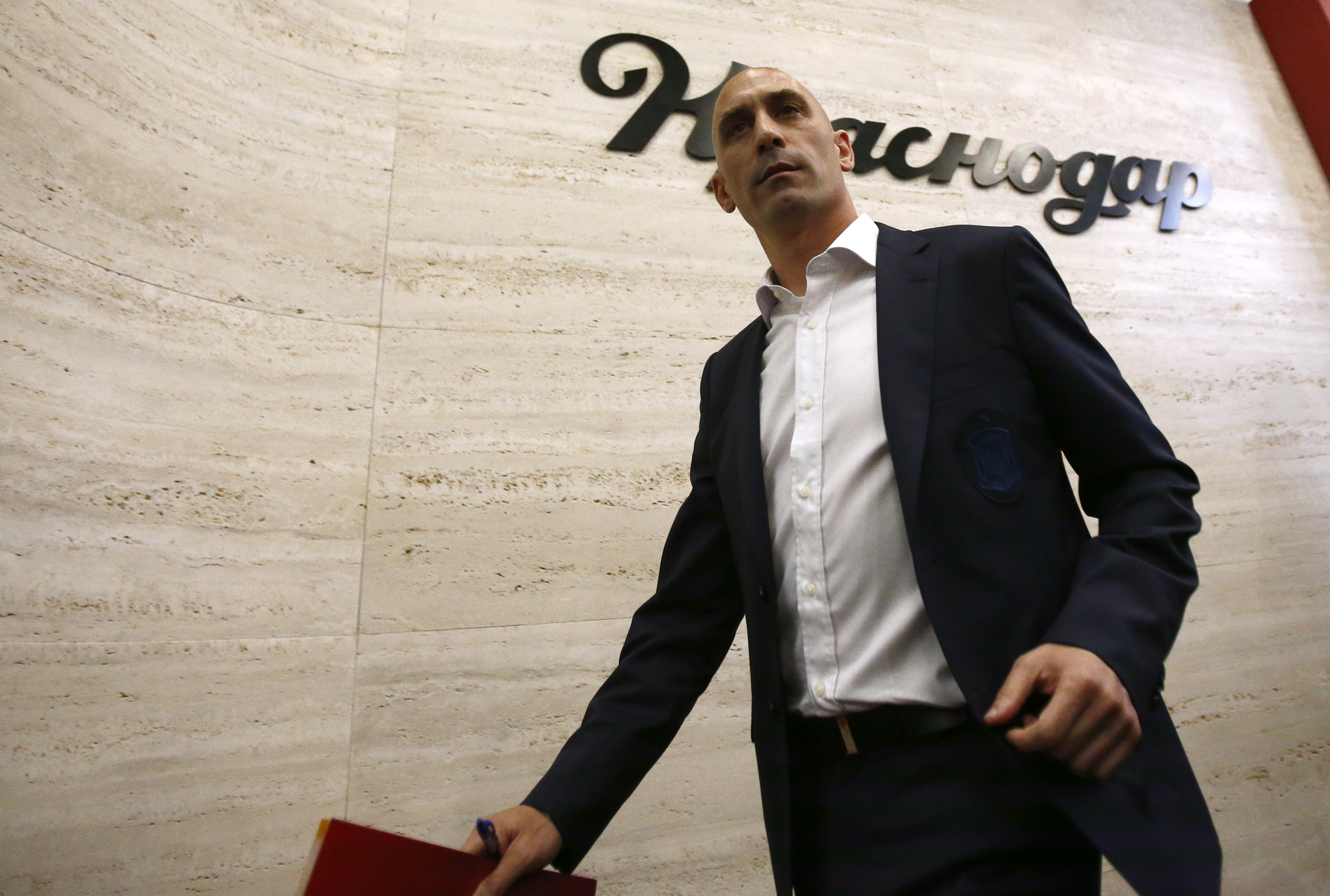 Rubiales leaves a press conference. Image: PA