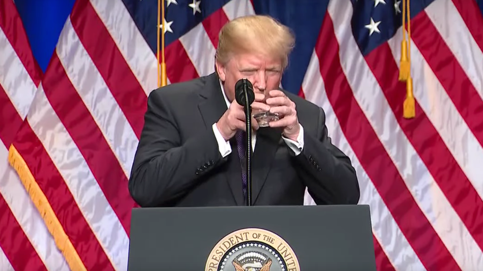 Donald Trump Sparks Health Concerns After 'Drinking Water Like A Child'