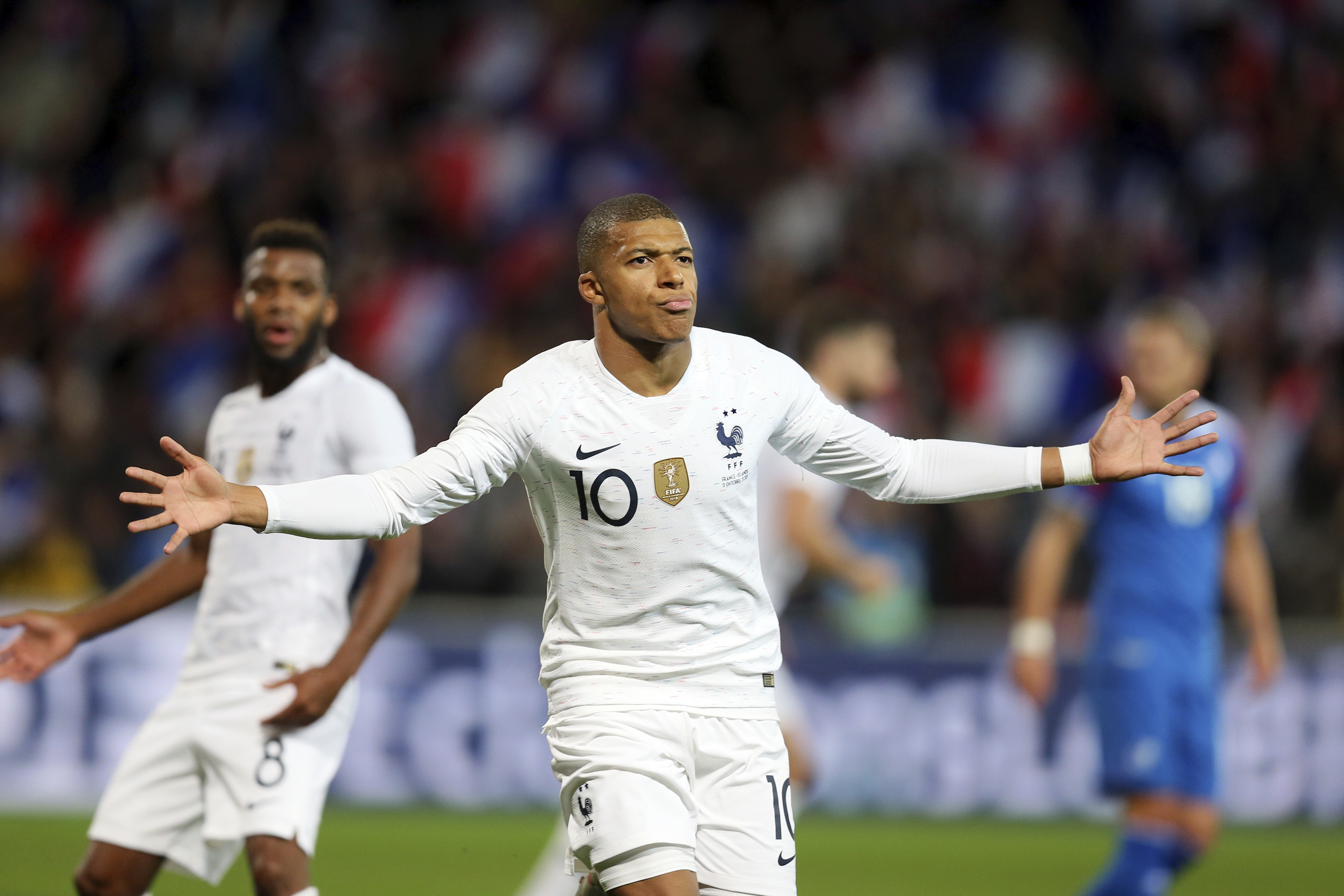 Mbappe celebrates his equaliser against Iceland. Image: PA Images
