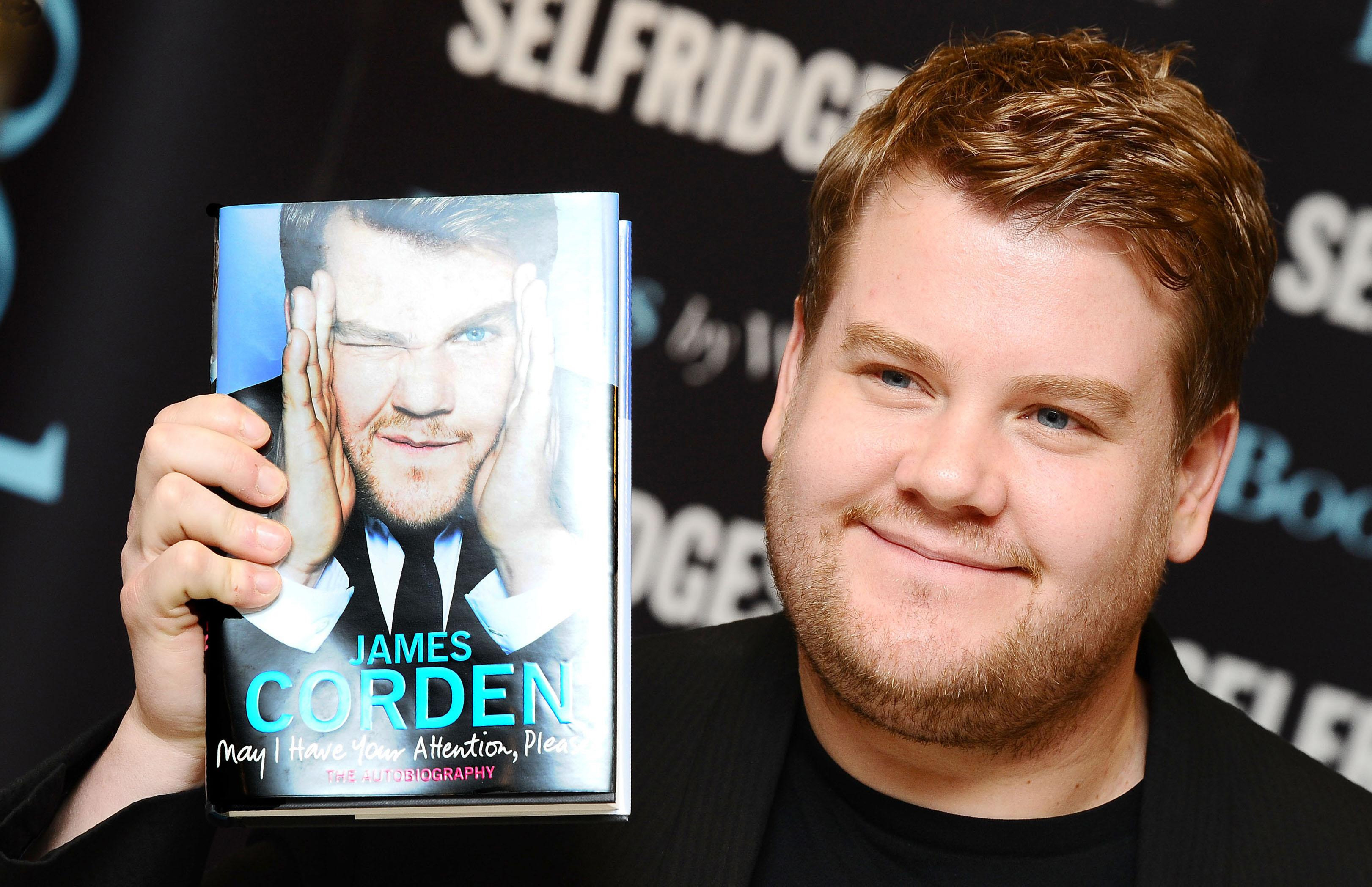 James Corden with his understated autobiography. Credit: PA