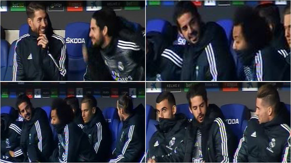 Isco jokes to the Real bench about his playing time. Image: Marca