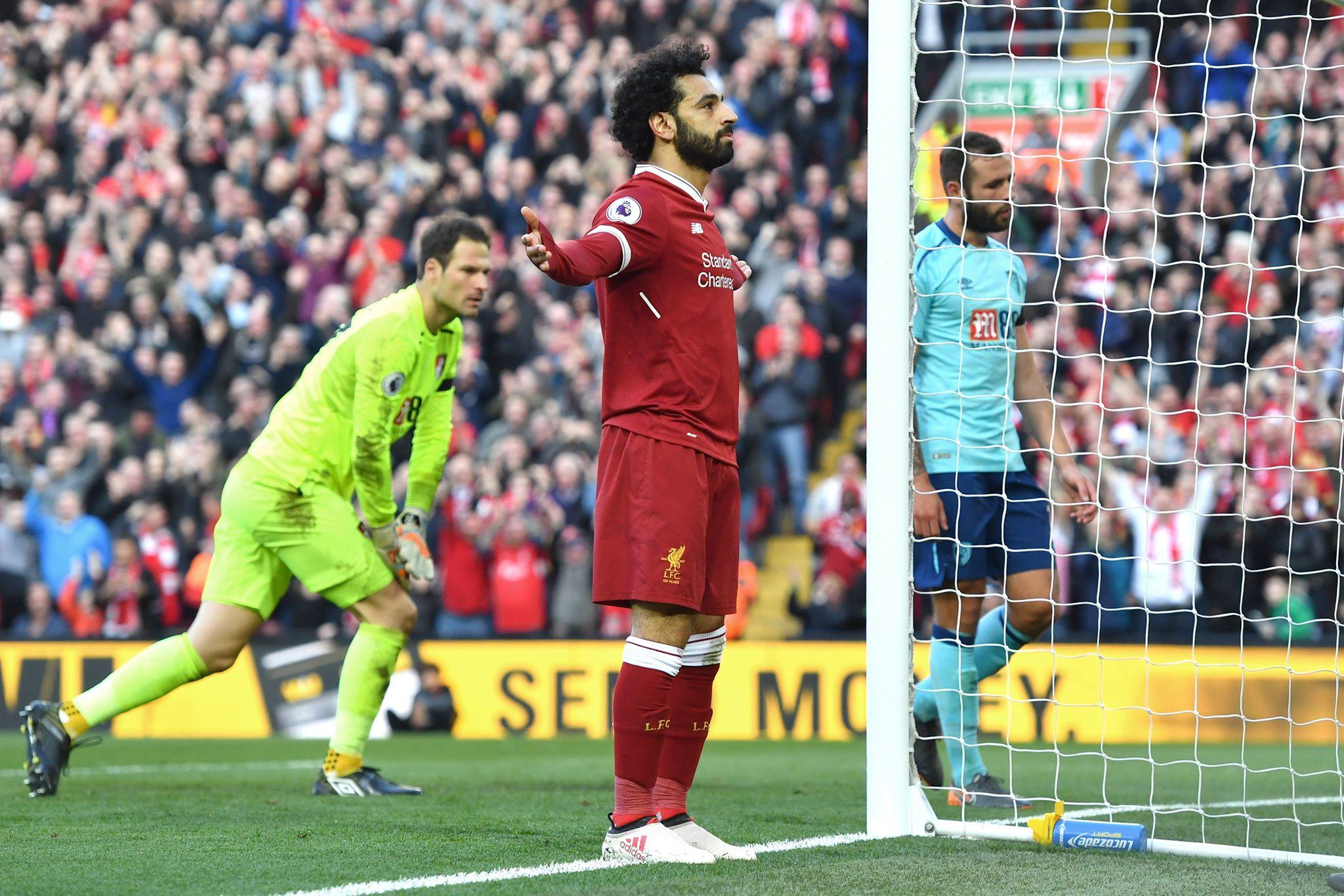 Salah celebrates scoring a goal. Image: PA