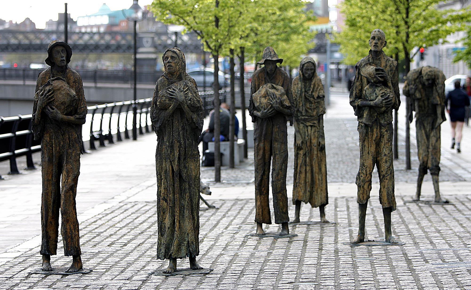 A memorial for victims of the Irish Famine in Dublin. Credit: PA